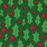 Noël Holly Berries Decorative Seamless Pattern sur le vert illustration de vecteur