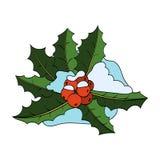 Noël Holly Berry, feuilles, neige sur le blanc Image stock
