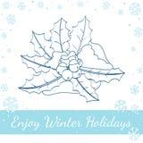 Noël Holly Berry, feuilles, neige sur le blanc Photographie stock libre de droits