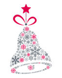 Noël Jingle Bell de flocons de neige Photographie stock libre de droits