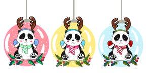 Noël joue des boules de panda Photographie stock libre de droits