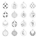 Noël joue des icônes d'outlihe dans la collection d'ensemble pour la conception Illustration de Web d'actions de symbole de balls Images stock