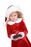 Noël : La fille obtient le charbon de Santa For Bad Behavior Images libres de droits