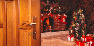 Noël la porte Photos libres de droits