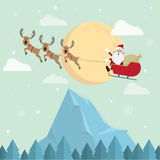Noël le père noël et vecteur de lune de neige de renne Photographie stock