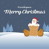 Noël mignon de carte avec Santa Photos stock