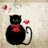 Noël mignon de chat de minou avec le gui Images stock