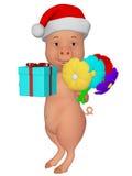 Noël mignon de porc de la bande dessinée 3d Images libres de droits