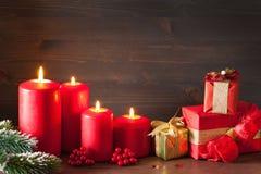 Noël mire les boîte-cadeau rouges de décoration Image stock