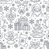 Noël, modèle sans couture de nouvelle année, illustration au trait Dirigez l'arbre de Noël de vacances d'hiver d'icônes, les cade Photo libre de droits
