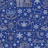 Noël, modèle sans couture de nouvelle année, illustration au trait Dirigez les icônes de l'arbre de Noël de vacances d'hiver, cad Images libres de droits