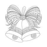 Noël monochrome fleuri de vecteur Bells d'or avec l'arc rouge illustration stock