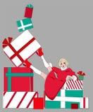 Noël, an neuf Les ventes des vacances Fille avec des cadeaux illustration de vecteur