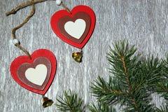 Noël, nouvelle année, jour du ` s de St Valentine, amour Deux multicolores Photo stock