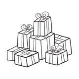 Noël ou collection de cadeaux d'anniversaire Image libre de droits