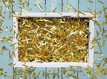 Noël ou nouveau fond de la veille de year's avec la décoration d'or Image stock