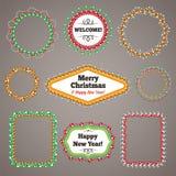 Noël perle des cadres de guirlandes avec un espace de copie Photographie stock libre de droits