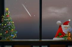 Noël a placé sur le compteur avec la comète dans la fenêtre photo libre de droits