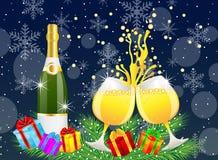 Noël postal avec une bouteille et des verres de champagne Image stock