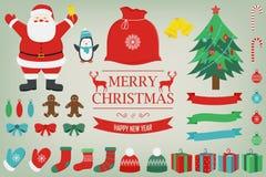 Noël réglé avec des éléments de décoration Santa Claus, arbre de Noël, boîte-cadeau et d'autres éléments de Noël Vecteur Photo stock