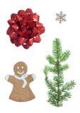 Noël réglé avec quatre symboles Photos stock