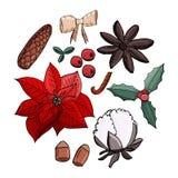Noël réglé dans la forme de cercle illustration libre de droits