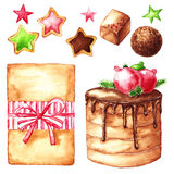 Noël réglé sur un blanc : gâteau de chocolat, sucrerie, biscuit, boîte-cadeau Photo libre de droits