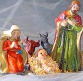Noël SAINT de famille avec doneky et le boeuf Images stock