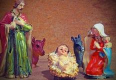 Noël SAINT de famille avec doneky et le boeuf Image stock