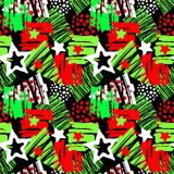 Noël sans couture répétant le modèle expressif d'encre de métier de main illustration libre de droits
