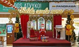 Noël Santa Clau et scène sur le marché de panorama Photos stock