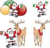 Noël Santa Claus avec les ornements et le renne Photographie stock