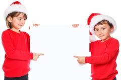 Noël Santa Claus d'enfants d'enfants se dirigeant semblant les copys vides images stock