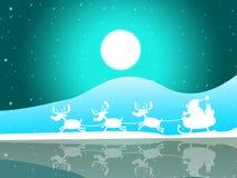 Noël Santa Indicates Full Moon And célèbrent Photos stock