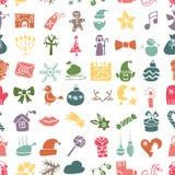 Noël, silhouette d'icônes de nouvelle année sans couture Images stock