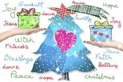 Noël souhaite la carte de voeux Photographie stock libre de droits