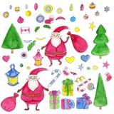 Noël tiré par la main d'aquarelle a placé avec Santa Claus, colifichets, cadeaux, arbre Image libre de droits