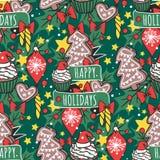 Noël tiré par la main sans couture de décoration de papier peint de vacances de style de design de carte de nouvelle année de mod Images libres de droits