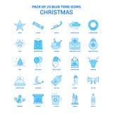 Noël Tone Icon Pack bleue - 25 ensembles d'icône illustration de vecteur