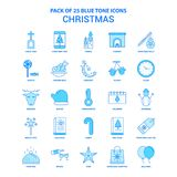 Noël Tone Icon Pack bleue - 25 ensembles d'icône illustration libre de droits