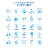 Noël Tone Icon Pack bleue - 25 ensembles d'icône illustration stock