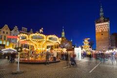 Noël traditionnel juste dans la vieille ville de Danzig Images stock