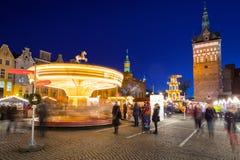 Noël traditionnel juste dans la vieille ville de Danzig Image libre de droits