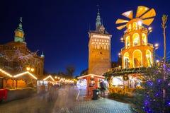 Noël traditionnel juste dans la vieille ville de Danzig Image stock