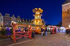 Noël traditionnel juste dans la vieille ville de Danzig Photos stock