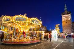 Noël traditionnel juste dans la vieille ville de Danzig Photo libre de droits
