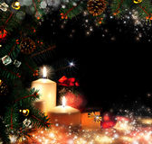 Noël. Trois bougies et sapin bleu Images stock