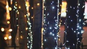Noël Troncs des arbres dans l'illumination rougeoyante de fête dans la rue de ville la nuit Plan rapproché an neuf de thème banque de vidéos