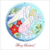 Noël Vitrail de carte avec l'ange Photographie stock libre de droits