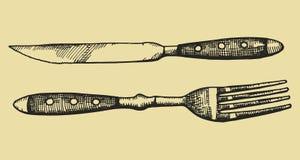 Noża i rozwidlenia rocznika stylu wzór Nakreślenie wektoru ilustracja royalty ilustracja
